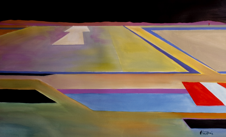 modern abstract aviation art  final approach