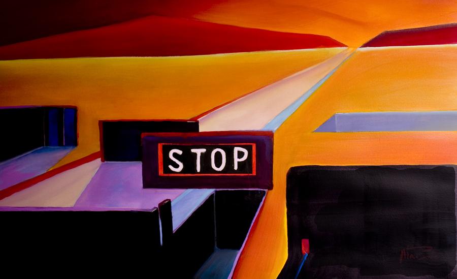 contemporary desert paintings - stop!
