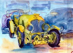 Ol' blue eyes painting of car