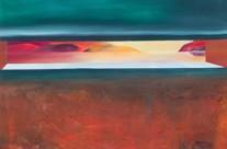Textured geometric abstract desert art. Acrylic painting – Heat Blind