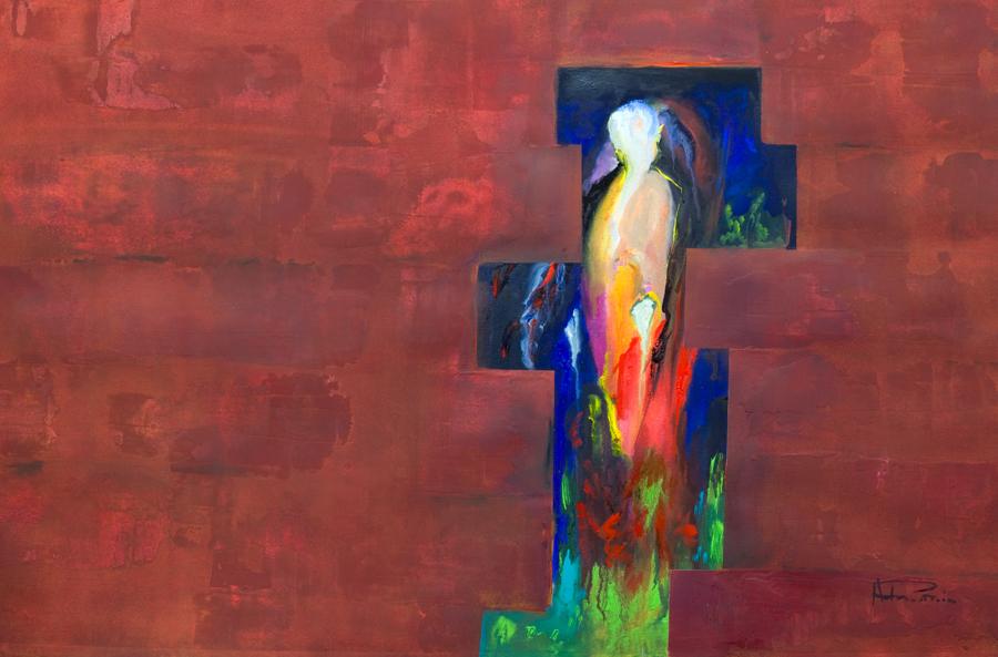 semi abstract originalpainting observe