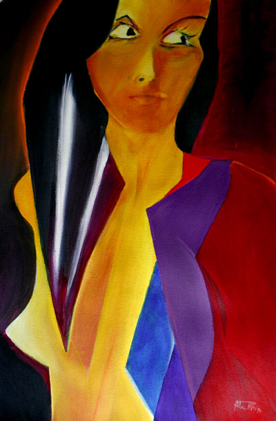 acrylic abstract female figure paintings - Vee
