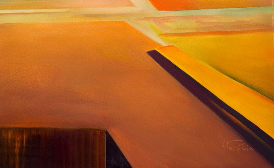 calming abstract painting - old orange