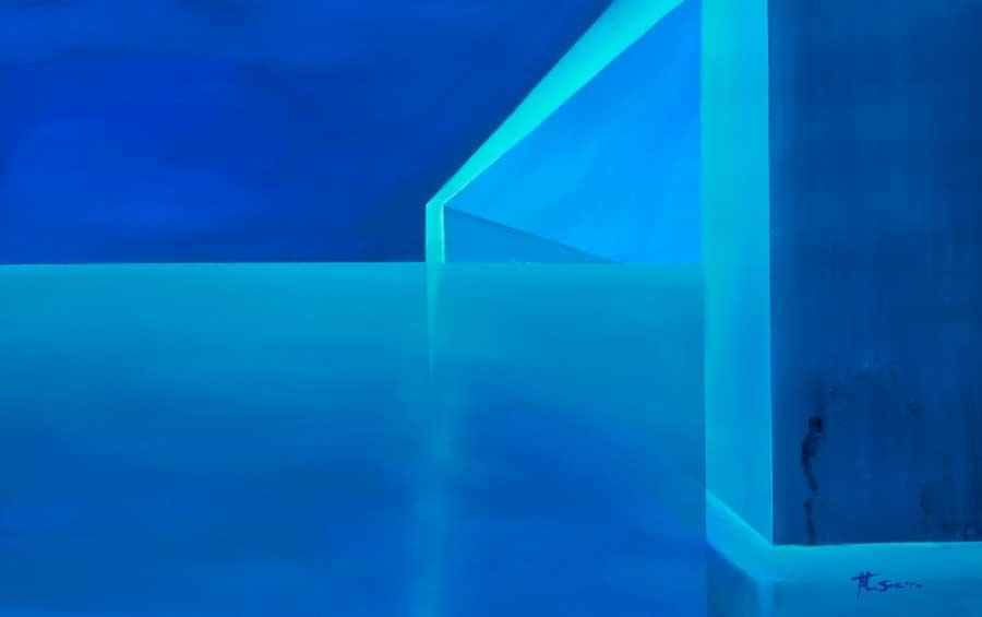 blue watercolour paintings Stillness