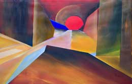 dramatic abstract art – dangerous desert sundown