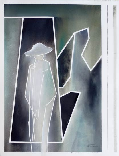 Abstract war figure painting a soldiers return