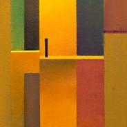 three abstract paintings in yellow