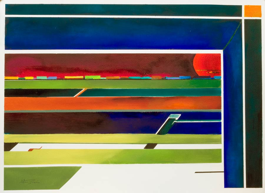 geometric abstract artwork - passing freight