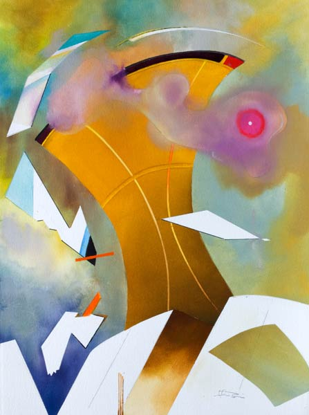 geometric abstract expressionism painting - celebrity towers