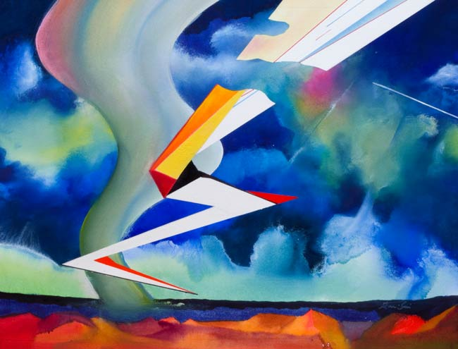 contemporary surrealism - desert flight dangerous weather