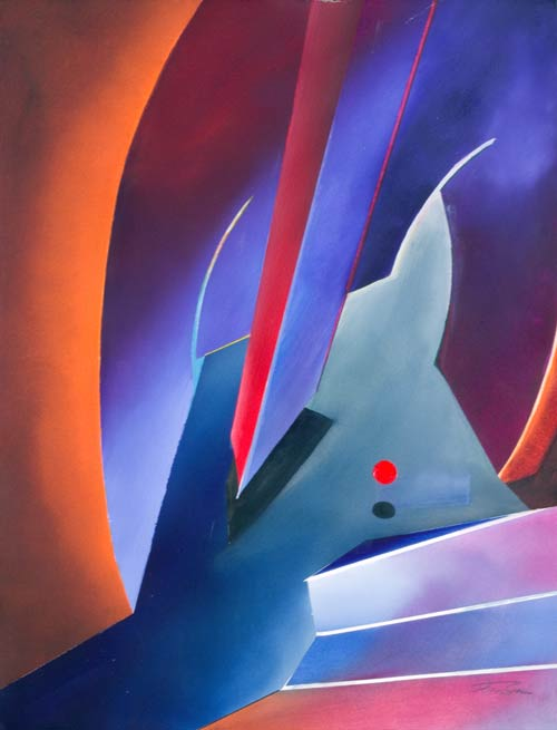 geometric abstract paintings and surreal content