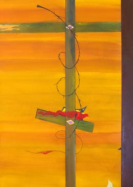 surreal painting – on the wire